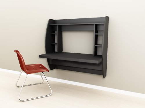 Black Floating Desk with Storage (772398522142)