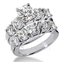 14K White Gold Round Cut Diamond Matching Bridal Set (1.80ct.tw, HI Color, SI2-3 Clarity)