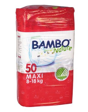 Bambo Nature® Ultra Absorbent Chlorine-Free Eco-Friendly Baby Diapers - Size 4 - Maxi - Fits 17.5 to 39 lbs - 50 Count (Pack of 1)