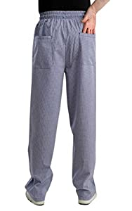 Blue Checked Poly Cotton Chefs Trousers (Small)