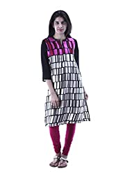 aarr Round Neck 3/4th Sleeves Casual Printed Straight Kurta For Women
