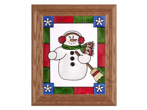Snowman Holiday Stained Glass Window