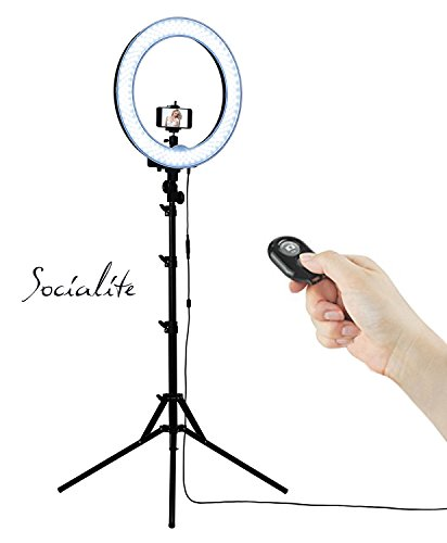 SOCIALITE-18-LED-Dimmable-Photo-Video-Ring-Light-Kit-Incl-Professional-Social-Media-Photography-Studio-Light-6ft-Stand-Remote-Heavy-Duty-Mount-for-DSLR-Camera-Fits-Iphone-6s-Android-Smartphones