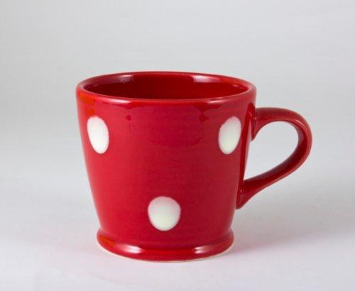 ECP DESIGN Tasse aus Steingut, gepunktet, Punkte, Rubinrot