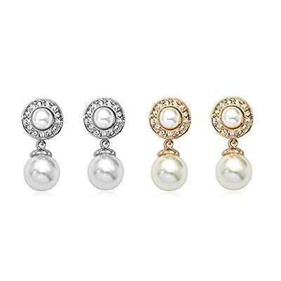 HuntGold 1 Pair Luxury Two Pearls Diamond Earrings Eardrop Pierced Ear Studs(gold)