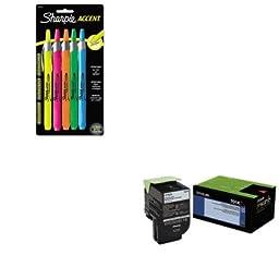 KITLEX70C10K0SAN28175PP - Value Kit - Lexmark 70C10K0 Toner LEX-701K 1000 Page-Yield (LEX70C10K0) and Sharpie Retractable Highlighters (SAN28175PP)