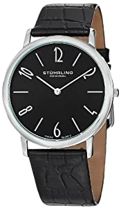 Stuhrling Original Men's 140.33151 Classic Ascot II Swiss Quartz Slim Black Dial Watch