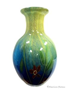 "New 11"" Bamboo Flower Turquoise BLUE Art Glass HAND Blown Vase"