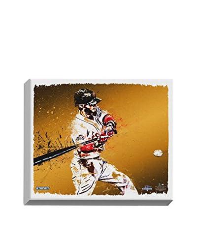 Steiner Sports Memorabilia Dustin Pedroia Swinging With Paint Splatter Design, 22 x 26