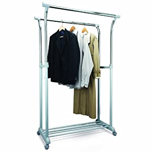 relaxdays wardrobe stand adjustable on wheels. Black Bedroom Furniture Sets. Home Design Ideas