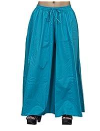Chhipa Women 100% Cotton Full Length Plain Turquise Palazzo