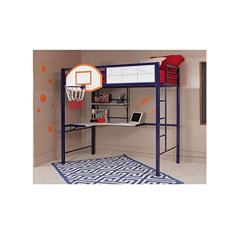 Powell Hoops Basketball Twin Loft Bed with Desk-For the Athlete in your Home- Sturdy Steel Bed for a Good nights Sleep-Perfect Space Saver and Kid's Bedroom Furniture (Loft Beds For Kids With Desk compare prices)