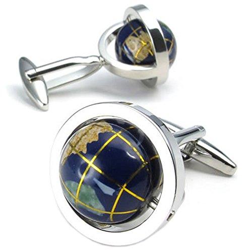Konov Jewelry 2pcs Mens Globe Shirts Cufflinks, Wedding, Blue Silver, 1 Pair, with Gift Bag, C22435