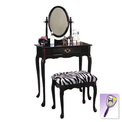 White Bedroom Vanity With Mirror front-63028