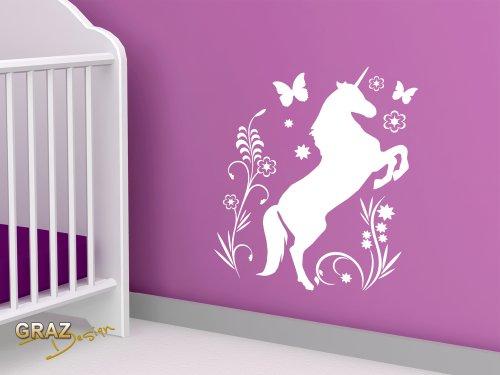 Sticker-mural-Tatouage-mural-autocollant-mural-cheval-licorne-papillon