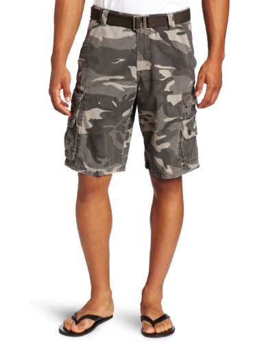Lee Men's Dungarees Belted Wyoming Cargo Short, Ash Camo, 34 Camouflage Shorts