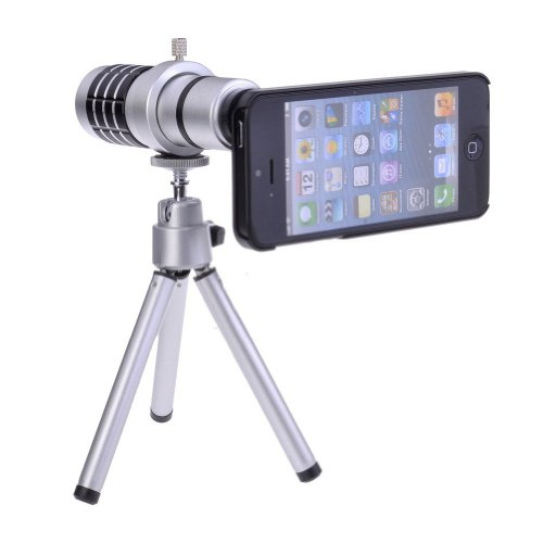 Afaith® 12X Magnifier Zoom Aluminum Tripod Camera Telephoto Lens For Apple Iphone 5 5S Pa028