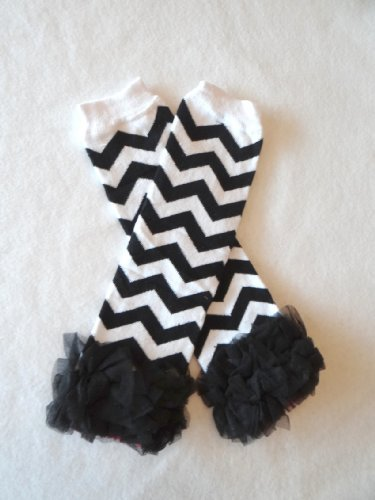 Chevron Baby Leg Warmers with Ruffles (Black with Black Ruffles) (Lil Chunk compare prices)