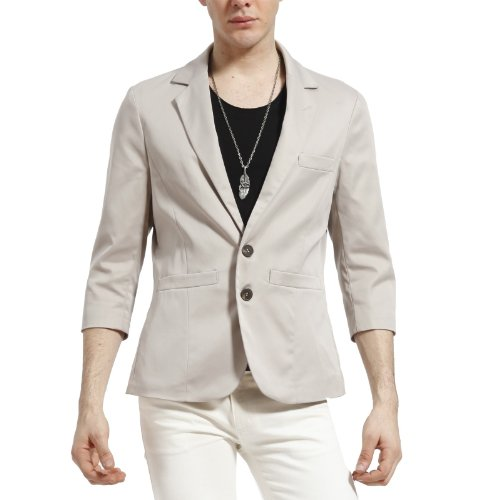 Doublju Mens CASUAL 2 button 7/10 sleeve jacket (LJ19)-IVORY-M