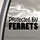 Protected By Ferrets Black Decal Car Truck Window Sticker