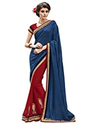 Indian Women Jacquard And Georgette Navy Blue And Red Half & Half Saree