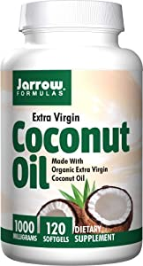 Jarrow Formulas Coconut Oil 100% Organic, Extra Virgin, 1000 mg, 120 Count