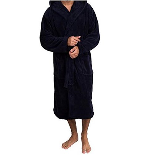 High Absorbency Top Quality Lint Free Mens Terry Bath/shower Robe (L/XL, Navy) (Cool Bath Robes For Men compare prices)