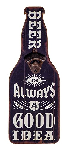 """Home Bar and Man Cave Decor, Accessories, Supplies - """"Beer Is Always A Good Idea"""" Wooden Sign and Bottle Opener - College Dorm Room Accessories - Beer Lover Gift for him, husband, dad,"""