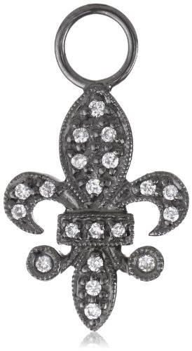 "Kc Designs ""Charmed Life"" Diamond 14K White Gold Fleur-De-Lis Ear Charm, Black Finish"