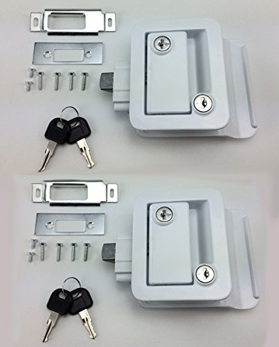 PAIR SET OF 2 NEW RecPro WHITE RV CAMPER TRAILER MOTORHOME PADDLE ENTRY DOOR LOCKS LATCH HANDLE KNOB DEADBOLT WITH MATCHING KEYS !! (Camper Door Entry Lock compare prices)