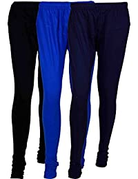 Fashion And Freedom Women's Cotton Leggings Pack Of 3_FFCL_BB1Nv_BLACK-BLUE-NAVYBLUE_FREESIZE