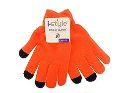 Ladies Neon Touchscreen Stretch Gloves - Black/Orange