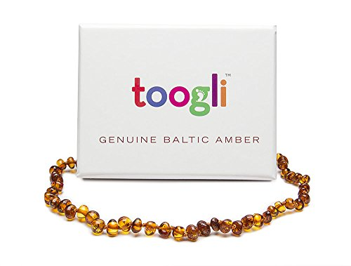 Cognac Baltic Amber Teething Necklace by Toogli TM - Soothing Natural Pain Relief for Your Baby - Safety Clasp, FREE Teething Survival Guide Bonus Ebook - Certificate of Authenticity, Premium Packaging, Lifetime No Hassle 100% Money Back Guarantee