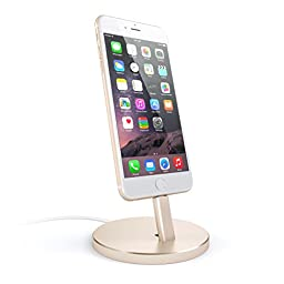 Satechi Aluminum Desktop Charging Stand for iPhone 5 / 5S / 5C / 6 / 6s / 6 Plus / 6s Plus / 7 / 7 Plus/ iPod touch 5G / iPod nano 7G (Gold)