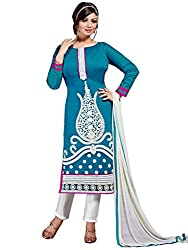 Look N Buy Women's Latest Royal Blue and White Embroidered Dress Material with Dupatta