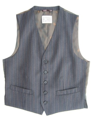 Mens Brown Stripe 5 Button Wool Waistcoat