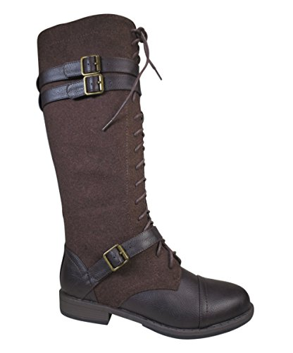 Bamboo-Brown-Vintage-Buckled-Lace-Up-Wool-Knee-Vegan-Leather-Boots-Womens