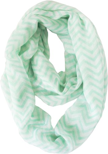 Vivian & Vincent Soft Light Weight Zig Zag Chevron Sheer Infinity Scarf (Mint/White)