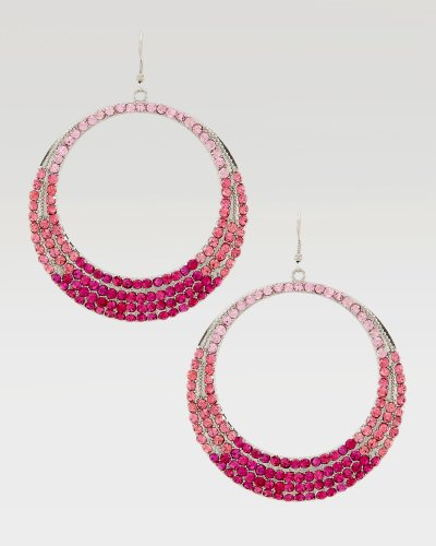 Bebe Ombre Crystal Hoop Earring Bright Rose onesize