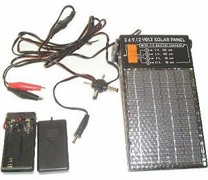 3, 6, 9, and 12 Volt Solar Panel with 9 Volt and AA Battery Charger