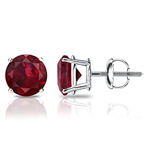 Platinum Round Ruby Gemstone Stud Earrings in 4-Prong Basket Screw Backs (2 cttw)