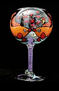 Flirty Fish Design - Hand Painted - Grande Goblet - 17.5 oz.