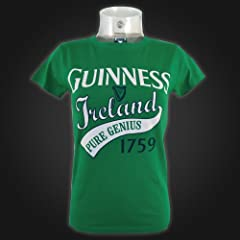 Guinness Green White Pure Genius Ladies Tee