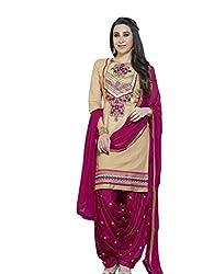 BanoRani Beige & Dark Pink Color Cotton Embroidered UnStitched Patiyala Dress Material