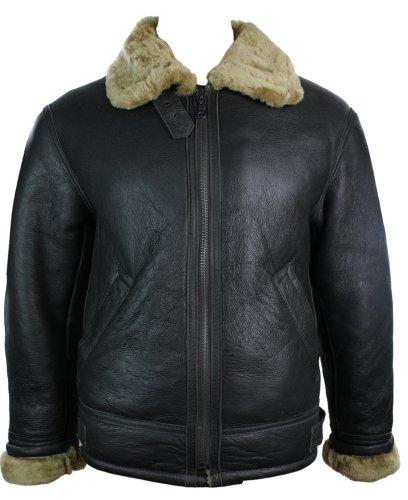 Mens Vintage Winter Real Sheepskin Leather Aviator Flying Jacket Brown & Ginger