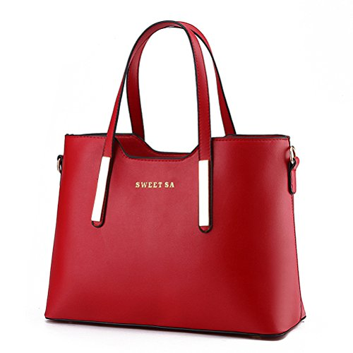 Micom Simple Euro Style Pure Color Pu Leather Tote Shoulder Handbag for Women (Wine Red)