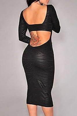 Hellojuncao Women's Long Sleeves Geometric Print Cut-Out Midi Vintage Dress