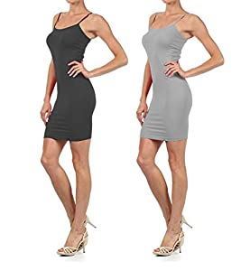 Yelete Womens 2 Pack Nylon Cami Slip Dresses (Charcoal & Grey, One Size) by Yelete