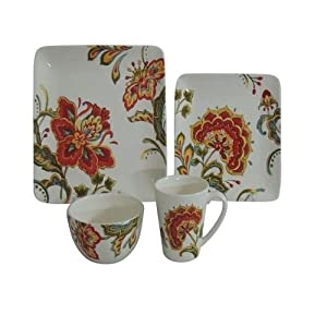 Better Homes And Gardens Floral 16 Piece Dinner Set Ceramic Dinnerware Sets