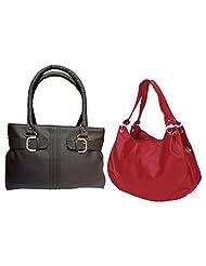 Arc HnH Women Handbag Combo Buckle Brown + Palatial Red